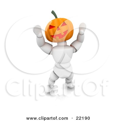 Clipart Picture of a White Character With A Carved Jackolantern Pumpkin Head With A Toothy Smile, Walking Around On Halloween And Scaring Children by KJ Pargeter