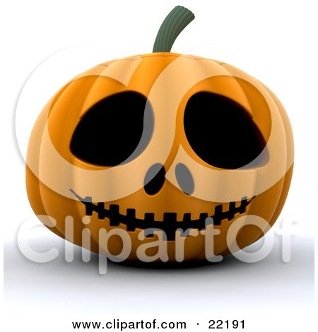Clipart Picture of a Spooky Orange Carved Halloween Pumpkin With Big Eyes, Nostrils And A Sewn Mouth by KJ Pargeter
