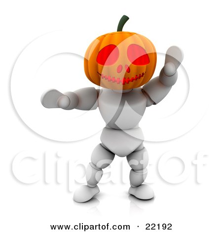 Clipart Picture of a White Character With A Carved Jackolantern Pumpkin Head With Big Eyes, Walking Around On Halloween And Scaring Children by KJ Pargeter