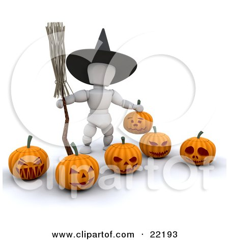 Clipart Picture of a White Character Wearing A Black Witch Hat And Carrying A Broomstick, Standing With Carved Halloween Pumpkins by KJ Pargeter