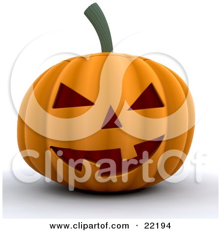 Clipart Picture of an Illuminated Orange Carved Halloween Pumpkin With Two Teeth by KJ Pargeter