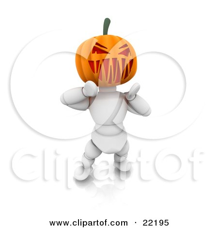Clipart Picture of a White Character With A Carved Jackolantern Pumpkin Head, Walking Around On Halloween And Scaring Children by KJ Pargeter