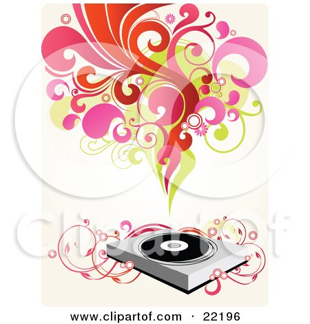 Clipart Picture of a Group Of Red, Pink, Green And Orange Scrolls, Circles And Flowers Above A Record Music Player With Pink Floral Vines by OnFocusMedia