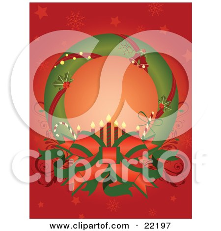 Clipart Picture of a Green Christmas Wreath Adorned With Red Ribbons, Holly And Jingle Bells, Displayed Around A Big Bow With Candy Canes And Candles, With A Red Snowflake Background by OnFocusMedia