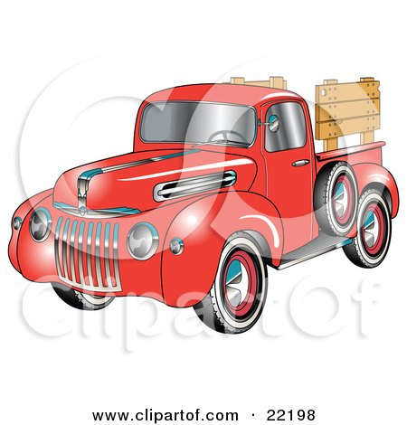 Clipart Illustration of a Red 1945 Ford Pickup Truck With A Spacfe Tire On The Side And, Chrome Accents, Red Wall Tires And Wooden Panels Along The Truck Bed by Andy Nortnik