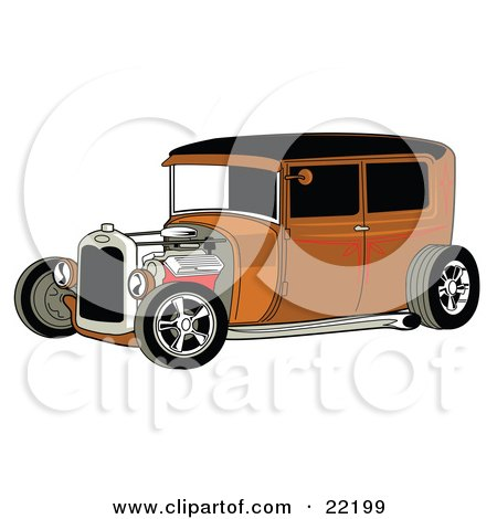 Clipart Illustration of a Rust Brown Vintage Rat Rod Car With A Black Roof, Red Accents And Chrome Wheels by Andy Nortnik