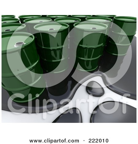 Royalty-Free (RF) Clipart Illustration of a 3d Oil Spill Around Green Barrels by KJ Pargeter
