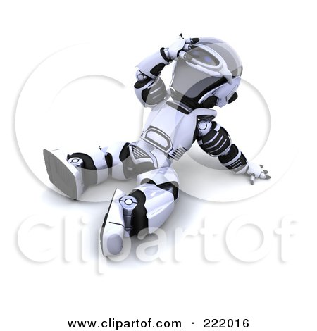 Royalty-Free (RF) Clipart Illustration of a 3d Robot Sitting On The Ground And Looking Upwards by KJ Pargeter