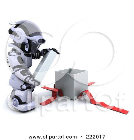 Royalty-Free (RF) Clipart Illustration of a 3d Robot Opening A Gift Box by KJ Pargeter