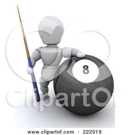 Royalty-Free (RF) Clipart Illustration of a 3d White Character By A Large Eight Ball by KJ Pargeter