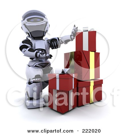 Royalty-Free (RF) Clipart Illustration of a 3d Robot Stacking Gift Boxes by KJ Pargeter