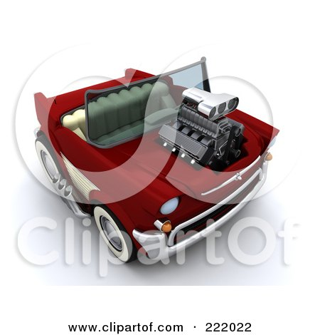 Royalty-Free (RF) Clipart Illustration of a 3d Super Charged Convertible Chevy by KJ Pargeter