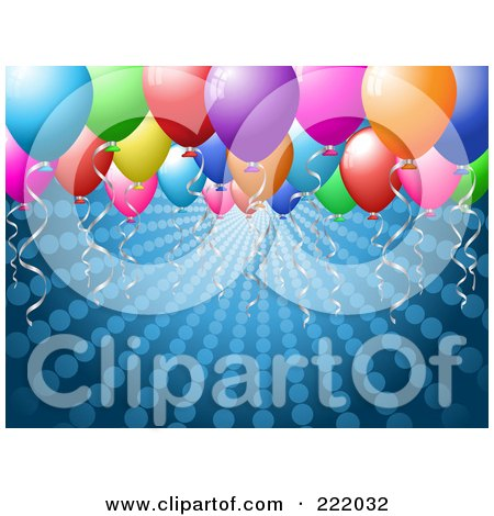 Royalty-Free (RF) Clipart Illustration of Floating Colorful Party Balloons Over A Halftone Blue Background by KJ Pargeter