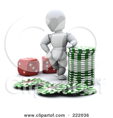 Royalty-Free (RF) Clipart Illustration of a 3d White Character With Poker Chips And Red Dice by KJ Pargeter