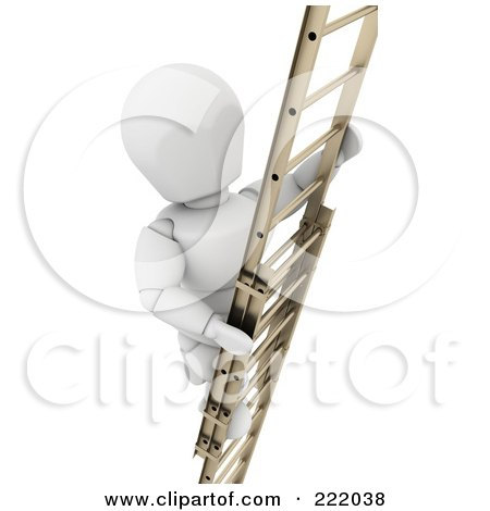 Royalty-Free (RF) Clipart Illustration of a 3d White Character Climbing A Ladder by KJ Pargeter