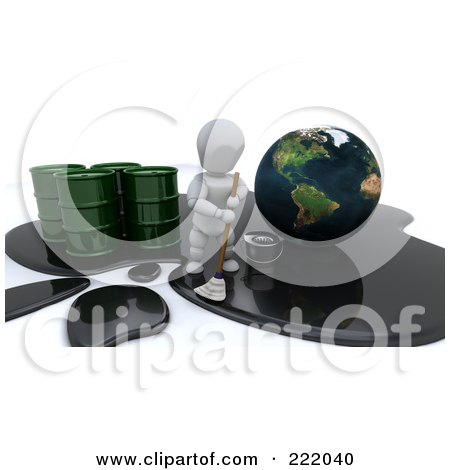 Royalty-Free (RF) Clipart Illustration of a 3d White Character Trying To Mop Up A Large Oil Spill Around Earth by KJ Pargeter