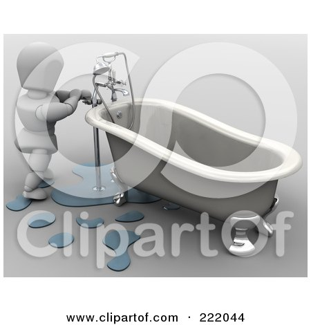 Royalty-Free (RF) Clipart Illustration of a 3d White Character Fixing A Leaky Tub by KJ Pargeter