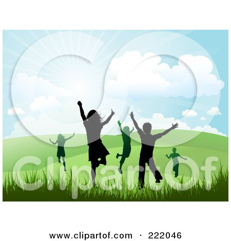 Royalty-Free (RF) Clipart Illustration of Silhouetted Happy Children Running And Jumping In A Hilly Summer Or Spring Landscape by KJ Pargeter