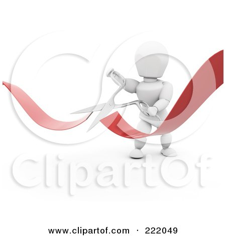 Royalty-Free (RF) Clipart Illustration of a 3d White Character Snipping A Ribbon With Scissors by KJ Pargeter