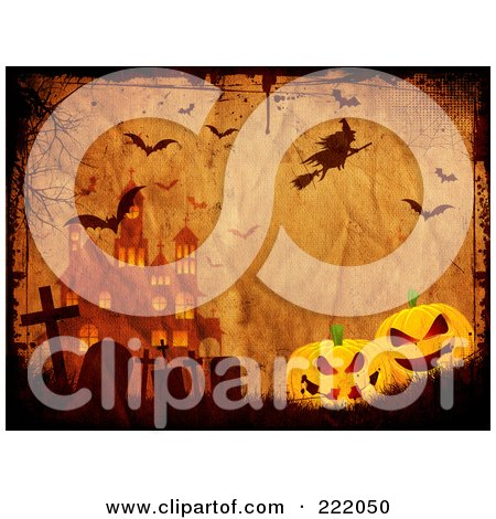 Witch And Bats Above A Cemetery, Halloween Pumpkins And Haunted House On Grungy Parchment Posters, Art Prints