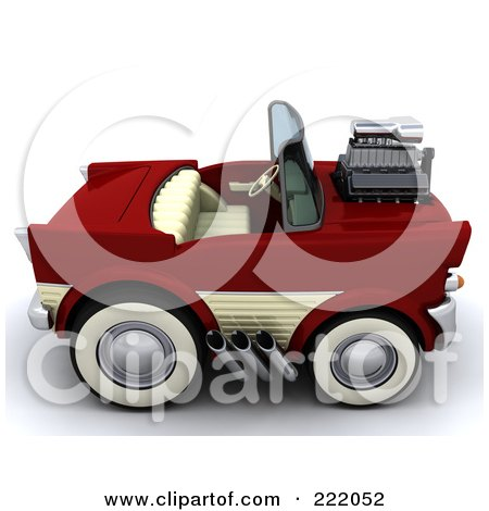 Royalty-Free (RF) Clipart Illustration of a 3d Super Charged Convertible Chevrolet by KJ Pargeter