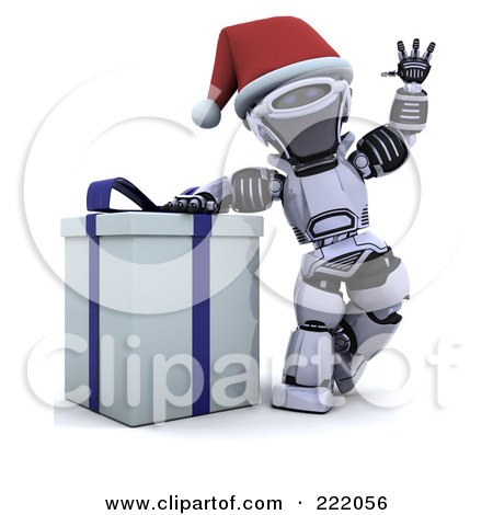 Royalty-Free (RF) Clipart Illustration of a 3d Robot Waving And Leaning On A Gift Box by KJ Pargeter