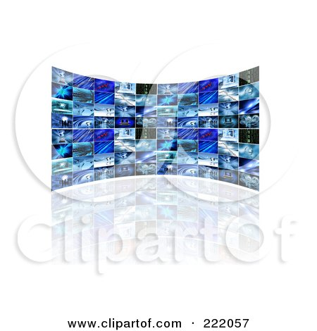 Royalty-Free (RF) Clipart Illustration of a 3d Curved Wall Of Television Screens Displaying Business Scenes by KJ Pargeter