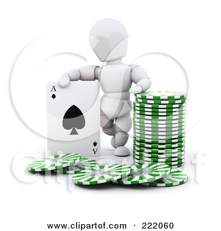 Royalty-Free (RF) Clipart Illustration of a 3d White Character With Poker Chips And A Playing Card by KJ Pargeter