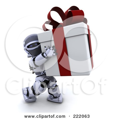 Royalty-Free (RF) Clipart Illustration of a 3d Robot Carrying A Gift Box by KJ Pargeter