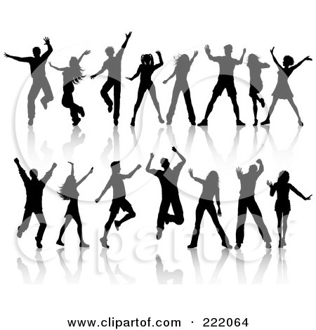 pictures of people having fun.  Collage Of Black Silhouetted People Having Fun, Jumping And Dancing