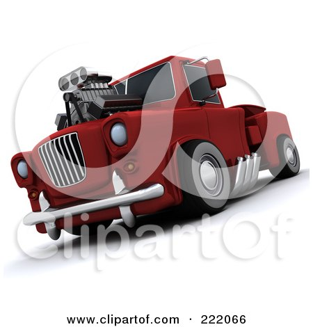 Royalty-Free (RF) Clipart Illustration of a 3d Super Charged Truck by KJ Pargeter