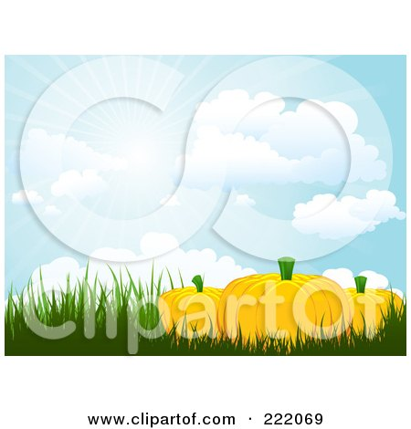 Royalty-Free (RF) Clipart Illustration of 3d Pumpkins In Tall Grasses Under A Sky With Rays Of Light  by KJ Pargeter