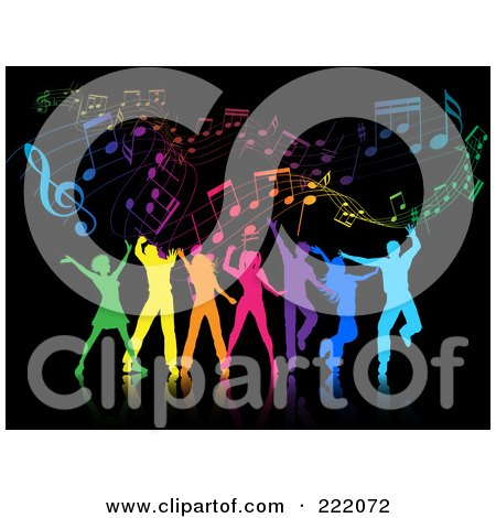 Royalty-Free (RF) Clipart Illustration of Silhouetted Colorful People Dancing Against A Black Music Background by KJ Pargeter