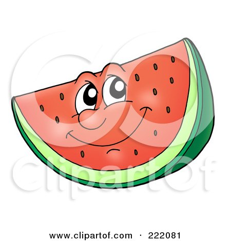 Royalty-Free (RF) Clipart Illustration of a Happy Watermelon Face Smiling by visekart