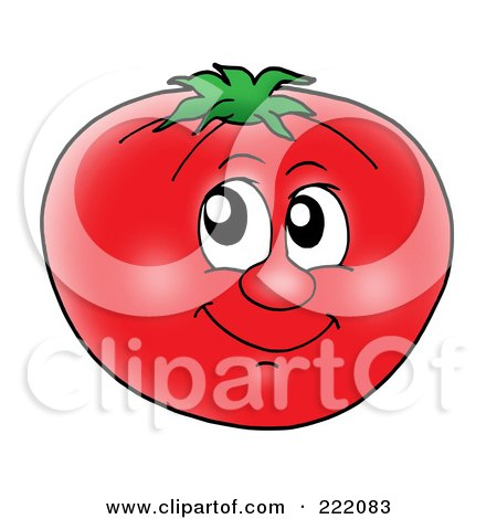 Royalty-Free (RF) Clipart Illustration of a Happy Tomato Face Smiling by visekart