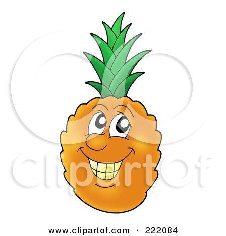 Royalty-Free (RF) Clipart Illustration of a Happy Pineapple Face Smiling by visekart