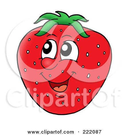 Royalty-Free (RF) Clipart Illustration of a Happy Strawberry Face Smiling by visekart