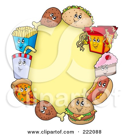 Royalty-Free (RF) Clipart Illustration of a Frame Of Happy Fast Foods Around A Yellow Oval by visekart