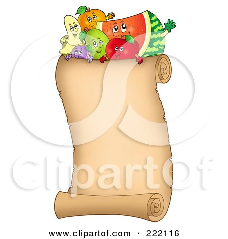 Royalty-Free (RF) Clipart Illustration of Happy Fruit On A Vertical Parchment Page by visekart