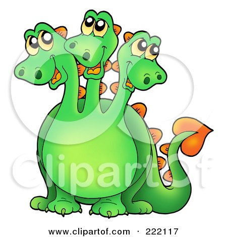 Royalty-Free (RF) Clipart Illustration of a Cute Green Three Headed Dragon Smiling by visekart