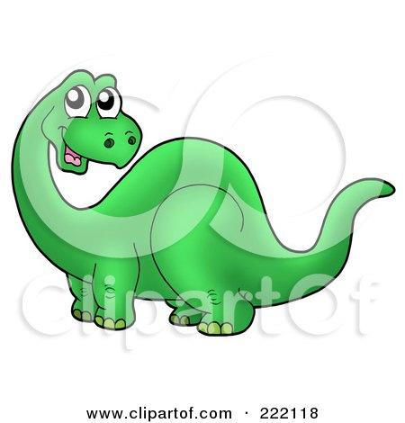 Royalty-Free (RF) Clipart Illustration of a Cute Green Apatosaurus Dinosaur Turning Its Neck And Smiling by visekart