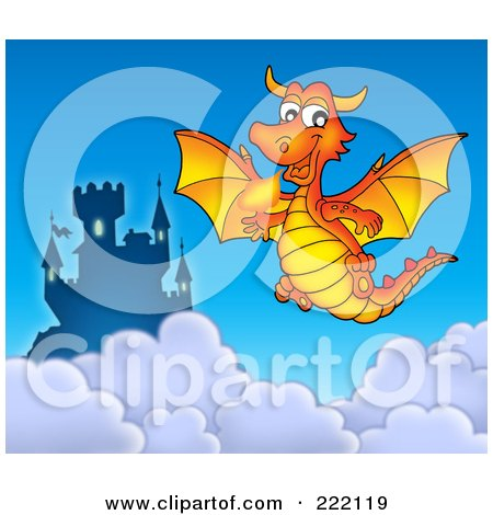 Royalty-Free (RF) Clipart Illustration of an Orange Fire Breathing Dragon Near A Castle In The Sky by visekart