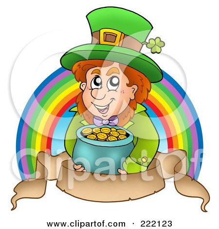 Royalty-Free (RF) Clipart Illustration of a Leprechaun Holding A Pot Of Gold In Front Of A Rainbow Above A Parchment Banner by visekart