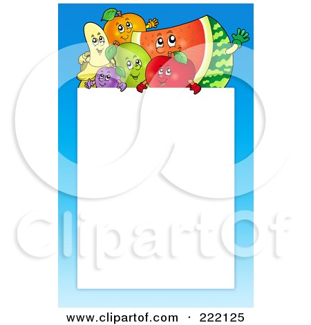 Royalty-Free (RF) Clipart Illustration of a Happy Fruit And Blue Frame Around White Space by visekart