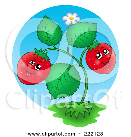 Royalty-Free (RF) Clipart Illustration of a Happy Strawberry Plant Smiling by visekart