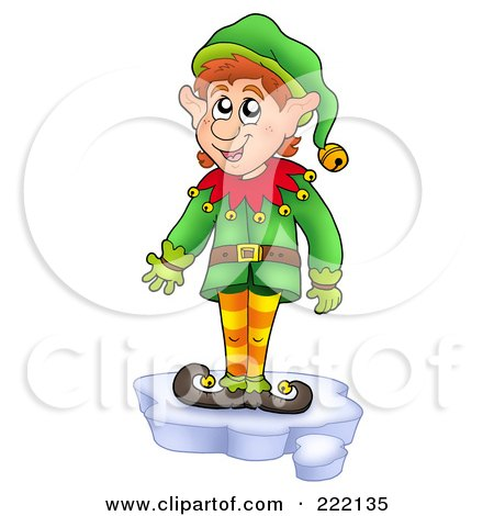 Royalty-Free (RF) Clipart Illustration of a Christmas Elf Standing On A Piece Of Ice by visekart