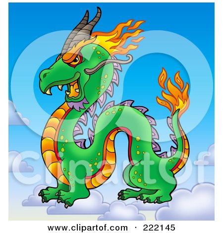 Royalty-Free (RF) Clipart Illustration of a Profiled Chinese Dragon On Clouds In The Sky by visekart