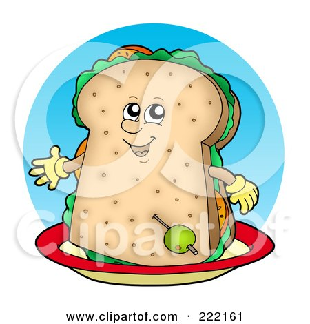 Royalty-Free (RF) Clipart Illustration of a Happy Sandwich Character On A Plate by visekart