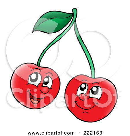 Royalty-Free (RF) Clipart Illustration of Two Happy Cherry Faces Smiling by visekart