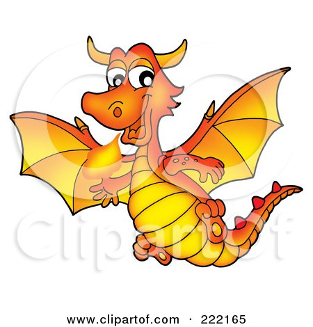 Royalty-Free (RF) Clipart Illustration of a Cute Orange Fire Breathing Dragon In Flight by visekart